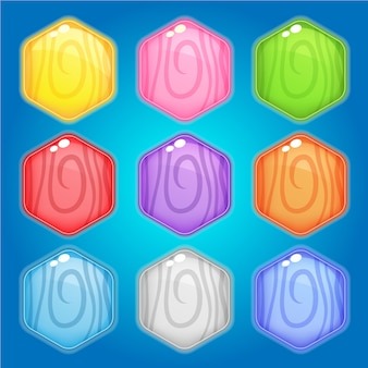 Pictogram en vorm zeshoek hout 9 kleuren voor games.