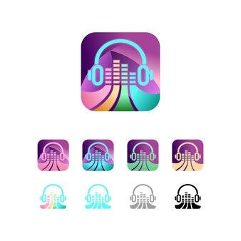 Pictogram headset muziek kleurrijke vector