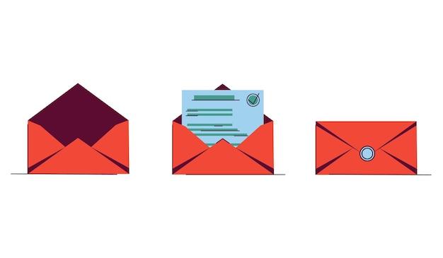 Pictogram instellen met brief in een oranje envelop voor website