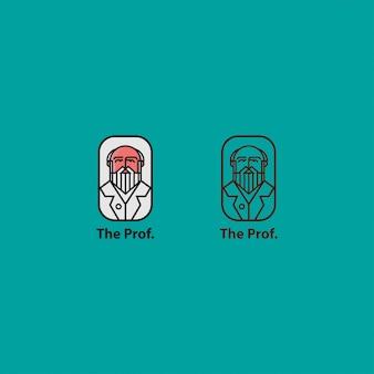 Pictogram logo premium van professor met zeer fijne tekeningen
