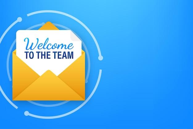 Pictogram met welkomstteam voor bannerontwerp. zakelijke communicatie vector banner. cartoon lettertype.