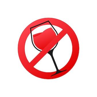Pictogram met zwarte geen wijn op witte achtergrond. symbool, logo afbeelding. waarschuwingspictogram.