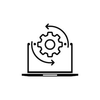 Pictogram monitor en versnellingen. app aanpassen, opties instellen, onderhoud, reparatie, monitorconcepten repareren. it-ondersteuning, softwareontwikkeling, systeembeheer, desktopupgrade en -update. vectoreps 10