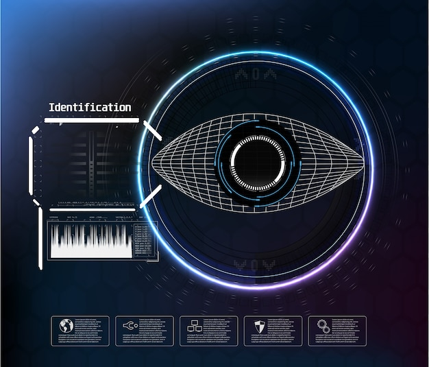 Pictogram op blauw. digital eye hud ui. . geneeskunde illustratie. oog pictogram. futuristische technologiestijl. identificatiesysteem scannen.