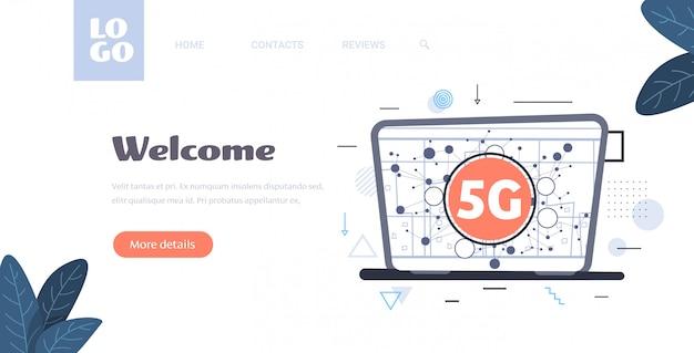Pictogram op laptopscherm online communicatienetwerk draadloos systeem verbindingsconcept vijfde innovatieve generatie van high speed internet horizontale kopie ruimte