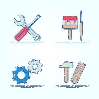 Pictogram symbool gereedschap onderhoud illustratie moderne tekenen