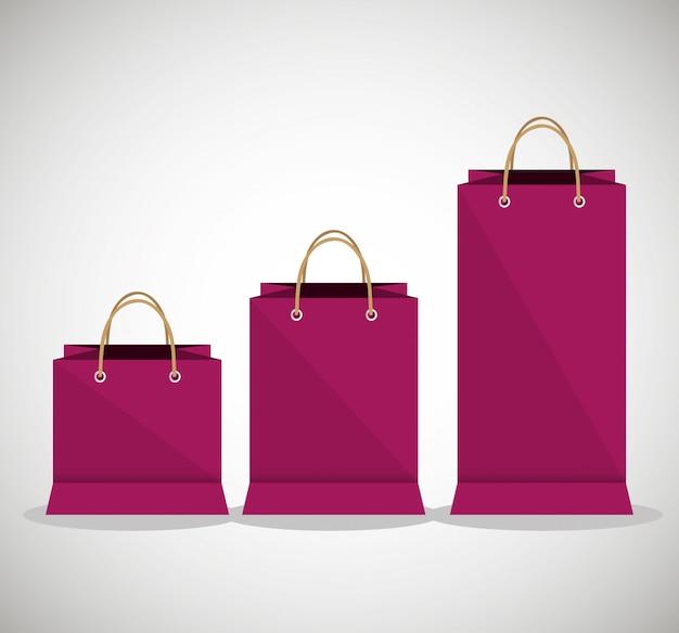 Pictogram tas fuchsia winkel papieren ontwerp