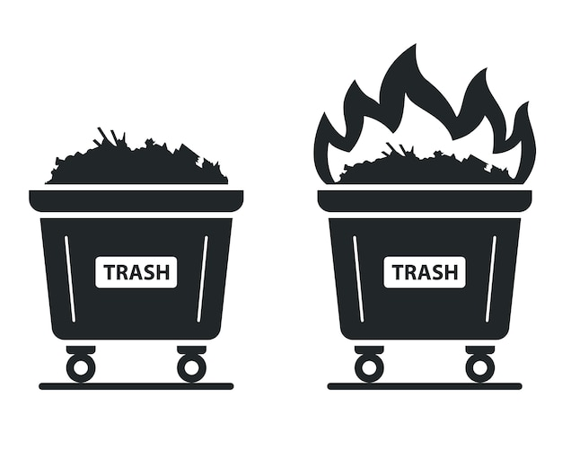 Pictogram van de container waarin de prullenbak brandt. steek afval in brand. vlakke afbeelding.