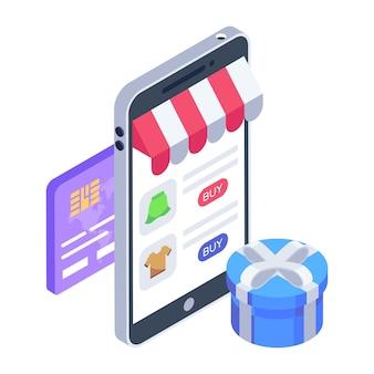 Pictogram voor digitaal winkelen in isometrisch ontwerp