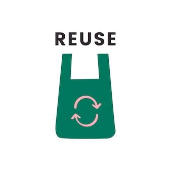 Pictogram voor hergebruik en recycleren verminderen
