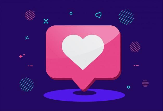Pictogram voor meldingen van sociale media. zoals pictogram.