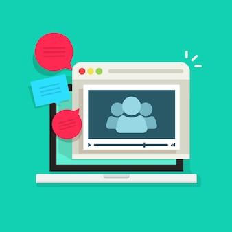 Pictogram voor online videogroepsconferentie of webinternetvergadering