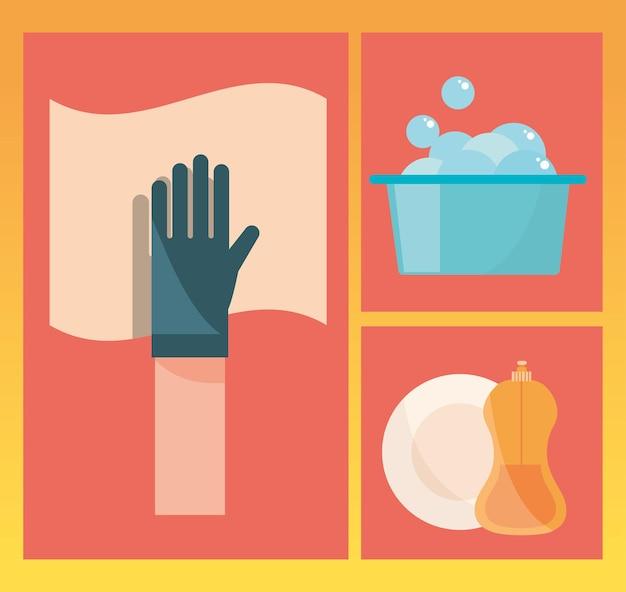 Pictogram voor schoonmaakhulpmiddelen