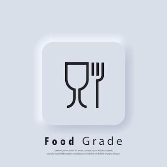 Pictogram voor voedselkwaliteit. voedsel veilig materieel teken. voedsel rang pictogrammen. wijnglas en vork symbolen. pictogram voor veilig en niet-veilig gebruik met voedingsproducten. vector eps 10. neumorfe ui ux