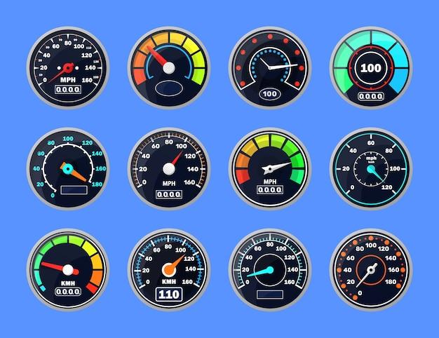 Pictogram voor weergave van downloadvoortgang, technologische meter met een pijl of aanwijzer.