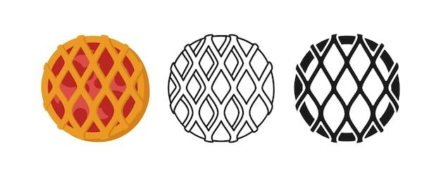 Pictogram zoete gevlochten taart met jam, brood lijn en zwarte glyph, cartoon teken set hand getrokken schets verse ronde broodje bakkerij