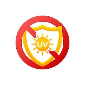 Pictogram zonder uv op lichte achtergrond voor gezondheidszorgontwerp. uv-huidbescherming. vector pictogram.