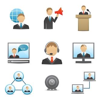 Pictogrammen bedrijfs van mensen instellen
