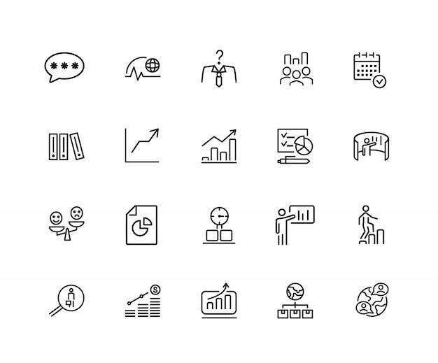 Pictogrammen bedrijfsstrategie. set van twintig lijn pictogrammen. groeimeter, promotie, plan.