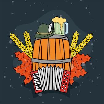 Pictogrammen biervat en oktoberfest