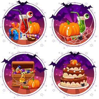 Pictogrammen, cocktails en pompoen instellen voor halloween, snoepdoos, cadeau