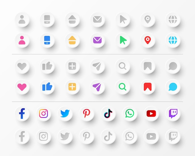 Pictogrammen en sociale media-logo'sverzameling voor visitekaartjes en websites in neumorfismestijl