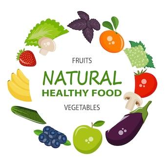 Pictogrammen groenten, fruit, champignons en bessen voor uw ontwerp. eps10 vector