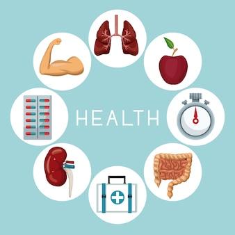 Pictogrammen in een cirkelframe van gezondheidselementen