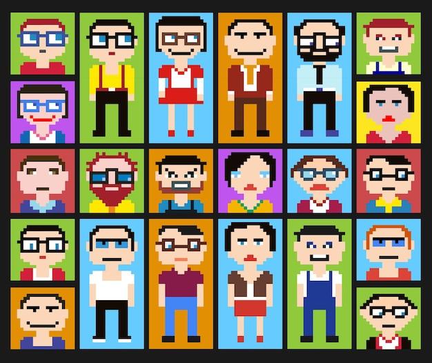 Pictogrammen in stijlpixelafbeeldingen van mannelijke en vrouwelijke gezichten.