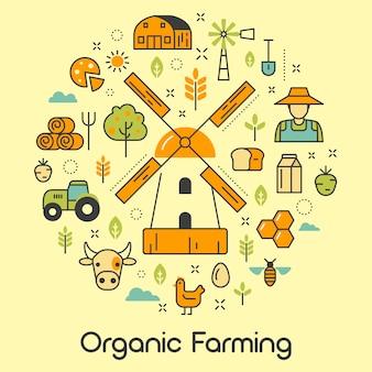 Pictogrammen instellen met windmolen en eco-producten