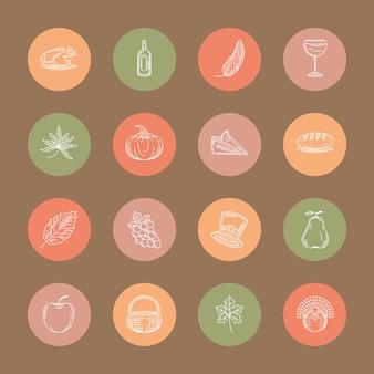 Pictogrammen instellen thanksgiving