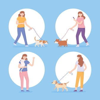Pictogrammen instellen vrouwen met huisdieren