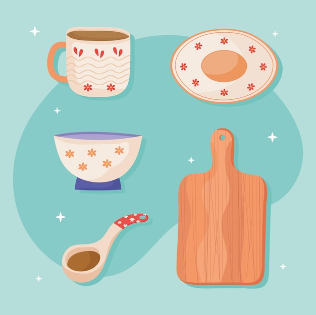 Pictogrammen keramisch keukengerei
