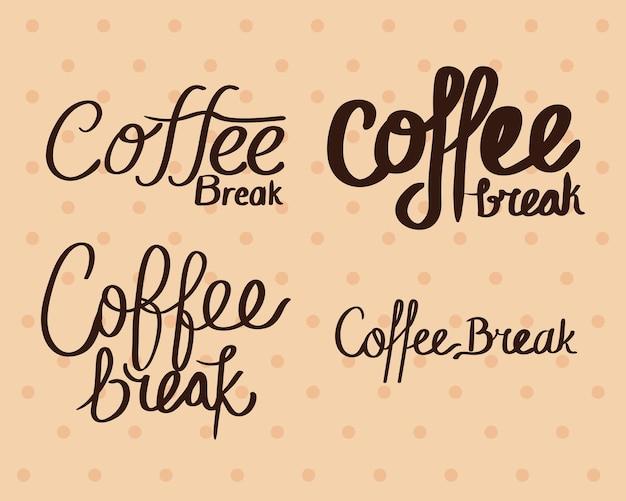 Pictogrammen met koffiepauze-belettering