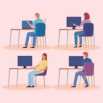 Pictogrammen met mensen op de computer