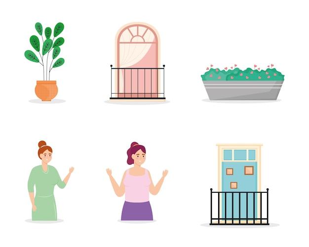 Pictogrammen met vrouwen en balkons