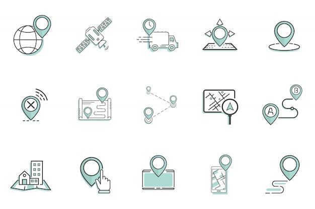 Pictogrammen pakken gps het concept van het navigatieontwerp in vector illustratie