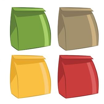 Pictogrammen papieren zakken voor voedsel. vector