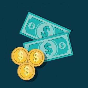 Pictogrammen rekeningen valuta munten ontwerp