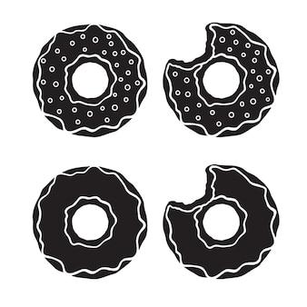 Pictogrammen silhouetten van donuts met glazuur en suiker dragees en gebeten donuts vector illustratie set