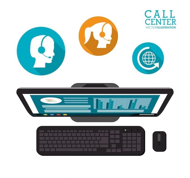 Pictogrammen van de dienst van de computer call center