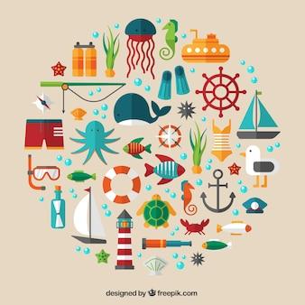Pictogrammen van de zee van de zomer