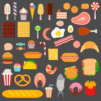 Pictogrammen van fast food