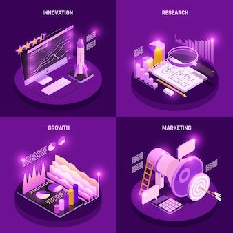 Pictogrammen van het bedrijfsstrategie de isometrische die concept met onderzoek en marketing symbolen geïsoleerde illustratie worden geplaatst