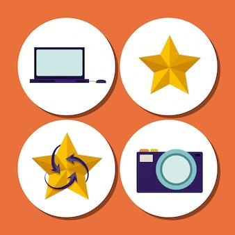 Pictogrammen van laptop, ster, vintage fotocamera