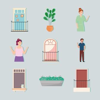 Pictogrammen van ramen en balkons
