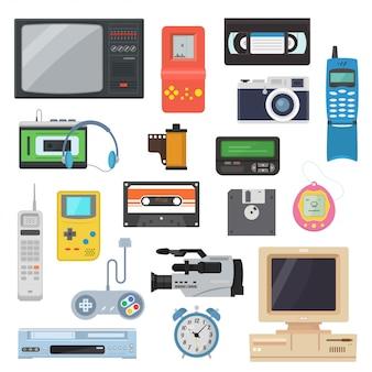 Pictogrammen van retro-gadgets uit de jaren 90 in een vlakke stijl