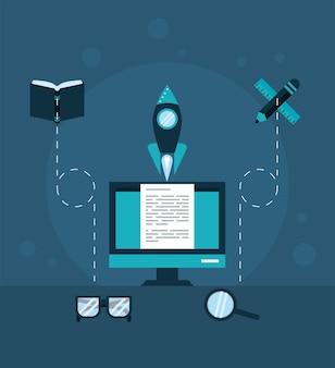 Pictogrammen voor bureaublad en onderwijs