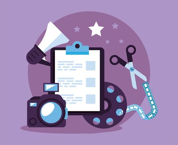 Pictogrammen voor checklist en videoproductieset