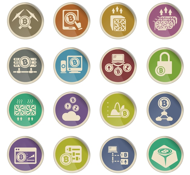 Pictogrammen voor cryptocurrency en mijnbouw in de vorm van ronde papieren etiketten